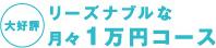 大好評!リーズナブルな月々1万円コース